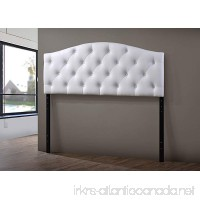 Wholesale Interiors Baxton Studio Myra Modern and Contemporary Faux Leather Upholstered Button-Tufted Scalloped Headboard  Queen  White - B011EUA2HK